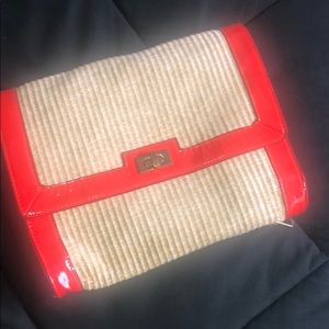 HM weaved clutch with red patent trim